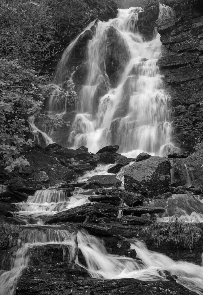 Norway, waterfall, black and white